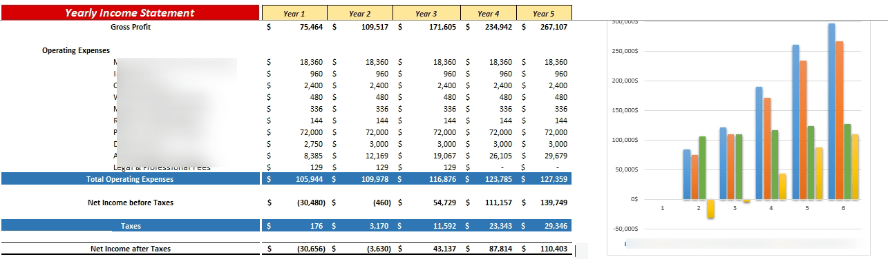 Airbnb Financial Model Yearly Income Statement