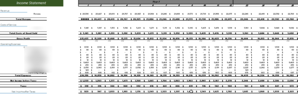 Auto Repair Financial Model Income Statement Sheet