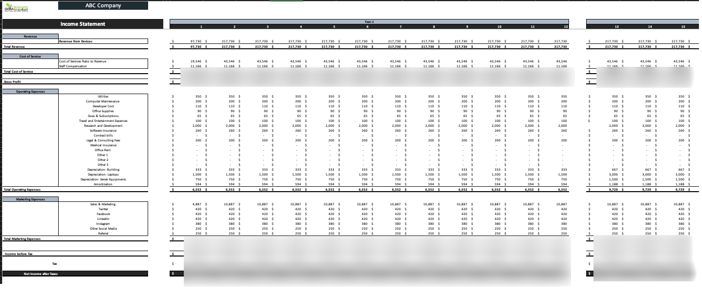 Medical Devices Excel Financial Model Monthly_IS