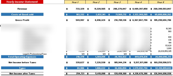 E-commerce Financial Model Yearly Income Statement