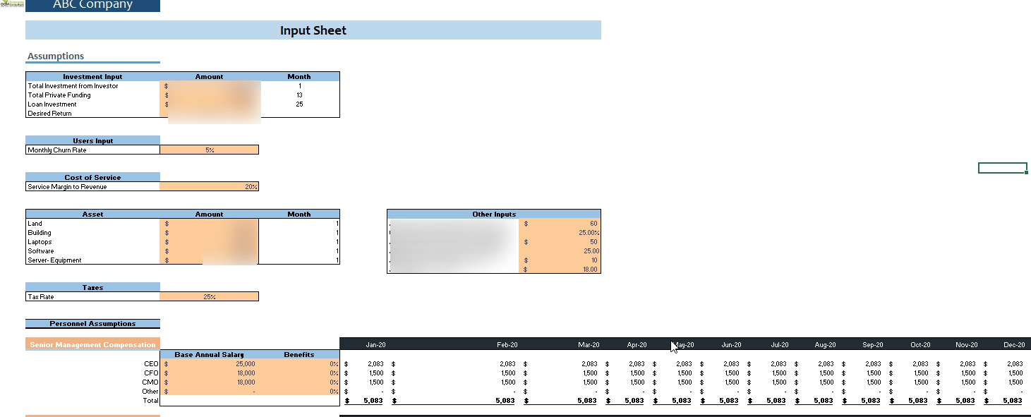 Smart Hospital Financial Model Input sheet