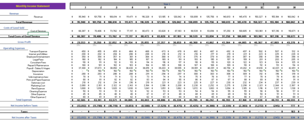 Photographer Excel Financial Model Monthly Income Statement