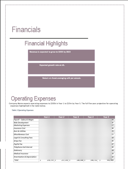Spa Business Plan Financials